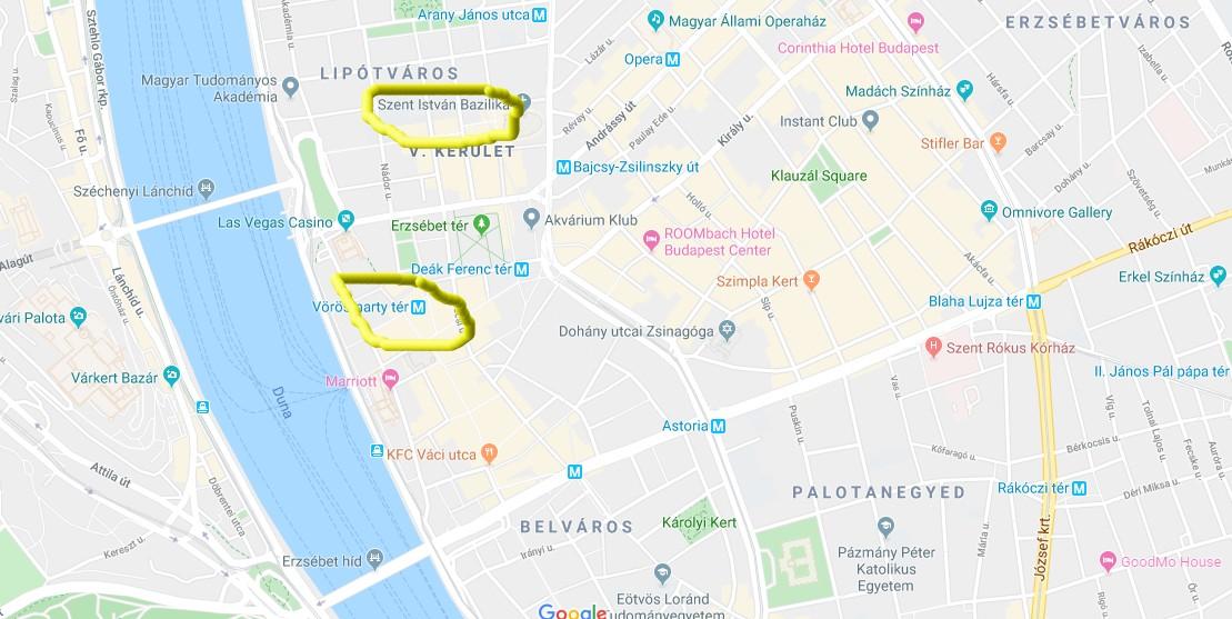 Et kart som viser beliggenheten til de to store julemarkedene i Budapest