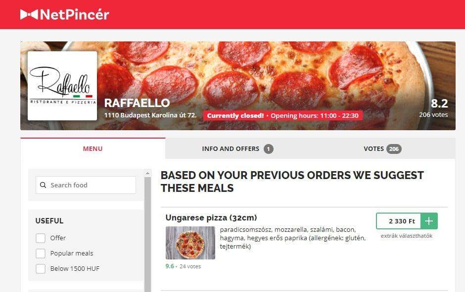 Bestill en pizza til huset ditt i Budapest